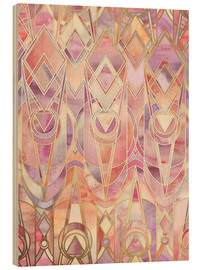 Wood print  Glowing Coral and Amethyst Art Deco Pattern - Micklyn Le Feuvre