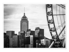 Premium poster Hong Kong Ferris Wheel in black and white