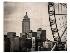Wood print  Hong Kong Ferris Wheel in black and white - Sebastian Rost