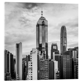 Acrylic print  Houses Sea Hong Kong in black and white - Sebastian Rost