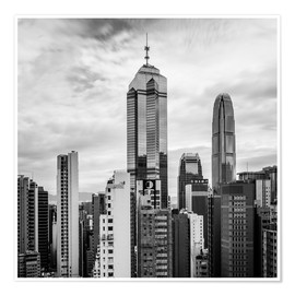 Premium poster Houses Sea Hong Kong in black and white