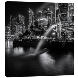Canvas print  Merlion Singapore black and white - Sebastian Rost