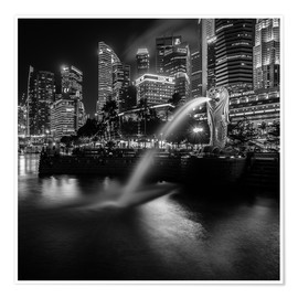 Premium poster  Merlion Singapore black and white - Sebastian Rost
