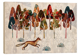 Wood print  Autumn fox - MiaMia