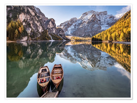 Premium poster  Autumn at Lake Braies (Lago di Braies), Dolomites - Italy - Achim Thomae