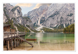 Premium poster Autumn at Lake Braies in South Tyrol