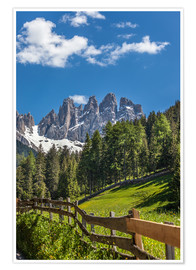 Premium poster Villnoess valley with Dolomites in South Tyrol (Italy)