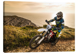 Canvas print  Enduro rider on a coastal road
