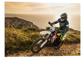Foam board print  Enduro rider on a coastal road