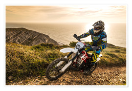 Premium poster  Enduro rider on a coastal road