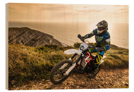 Wood print  Enduro rider on a coastal road