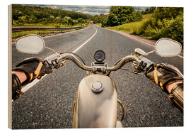 Wood print  On tour with a vintage motorbike