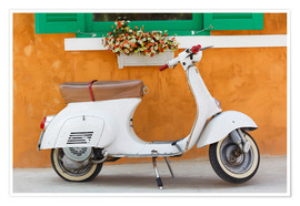 Premium poster  White scooter in front of a window