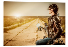 Acrylic print  Biker girl in a brown leather jacket