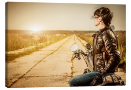 Canvas print  Biker girl in a brown leather jacket