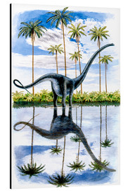 Alu-Dibond  Alamosaurus under the palm trees
