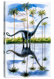 Canvas  Alamosaurus under the palm trees