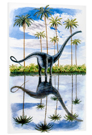 Foam board print  Alamosaurus under the palm trees