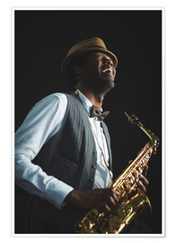 Premium poster Saxophonist with hat and bow tie