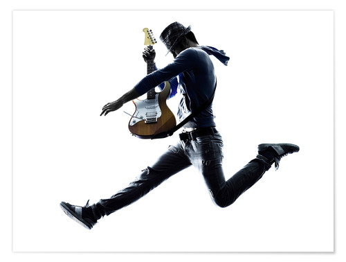 Poster Guitarist jumping in the air
