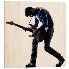 Wood print  Musician with an electric guitar