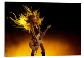 Rock girl with an electric guitar