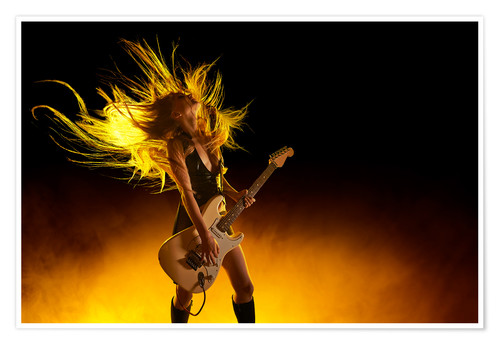 Premium poster Rock girl with an electric guitar