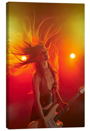 Canvas print  Rock girl playing the electric guitar