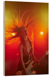 Wood print  Rock girl playing the electric guitar