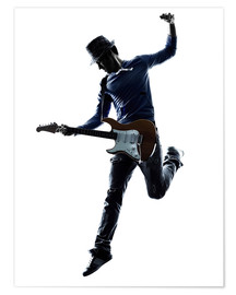 Premium poster  Electric guitarist jumping