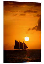 Acrylic glass  Sailing ship and sunset, Key West