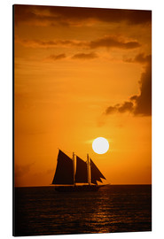 Aluminium print  Sailing ship and sunset, Key West
