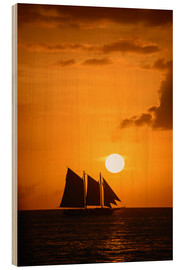 Wood print  Sailing ship and sunset, Key West