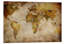 Acrylic glass  Vintage World Map