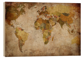 Wood  Vintage World Map