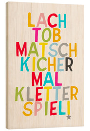 Wood print  Laugh and play (German) - Ohkimiko