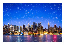 Premium poster New York City at night in winter