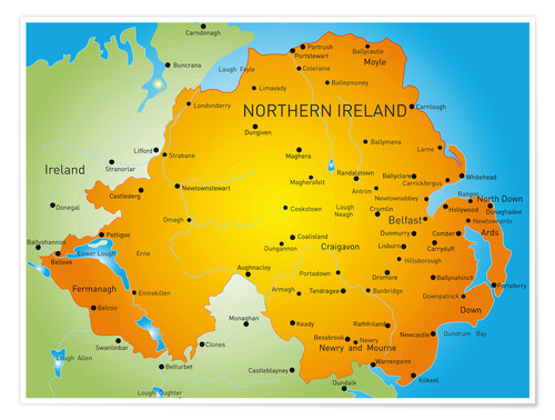 Map Of Ireland Northern Ireland.Premium Poster Northern Ireland Map