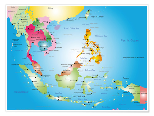 Premium poster Southeast Asia - Hotels, before 2002