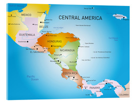Acrylic print  Central America - Map
