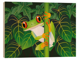 Wood print  Hold on tight little frog! - Kidz Collection