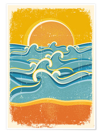 Premium poster Sea waves and yellow sand beach