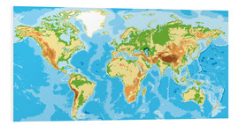 Foam board print  Physical World Map