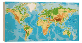 Wood print  Physical World Map