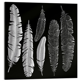 Acrylic print  Feathers in silver