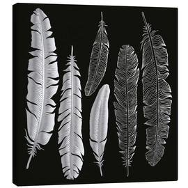 Canvas  Feathers in silver