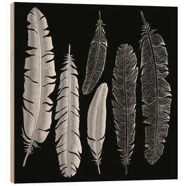 Wood print  Feathers in silver