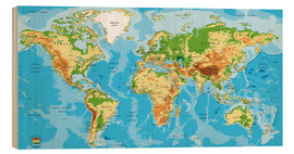 Wood print  Map of the world