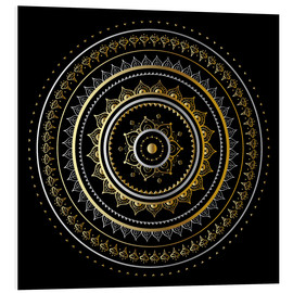 Foam board print  Mandala on black