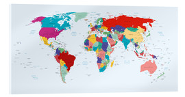Acrylic glass  World Map - Country overview, updated 2003 - Kidz Collection